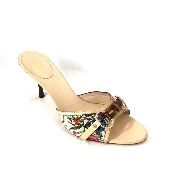 6ca1c403ea41 Gucci Shoes - GUCCI Mule Canvas Open Toe 10.5 Slide Slip On Heel